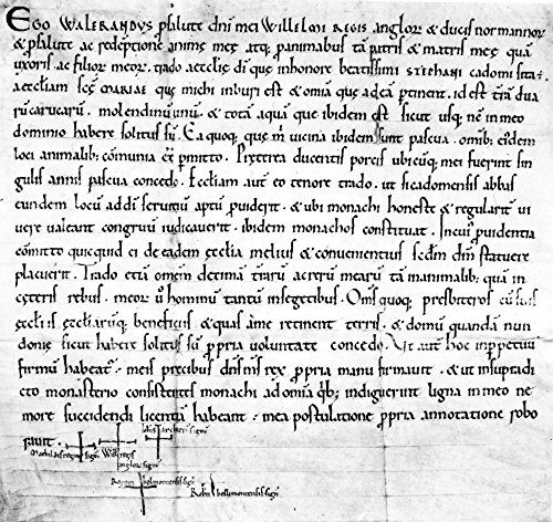 Norman Charter Ncharter Of Waleran Fitzranulf Granting The Church Of Bures St Mary Near Sudbury Suffolk And A House In London To St StephenS Abbey Caen The Autograph Signa Or Crosses At The Foot Inclu