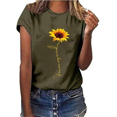 Handyulong Womens T-Shirts Teen Girls Casual Short Sleeve Crew Neck Sunflower Print Loose Tunic Shirts Blouse Tops: Clothing