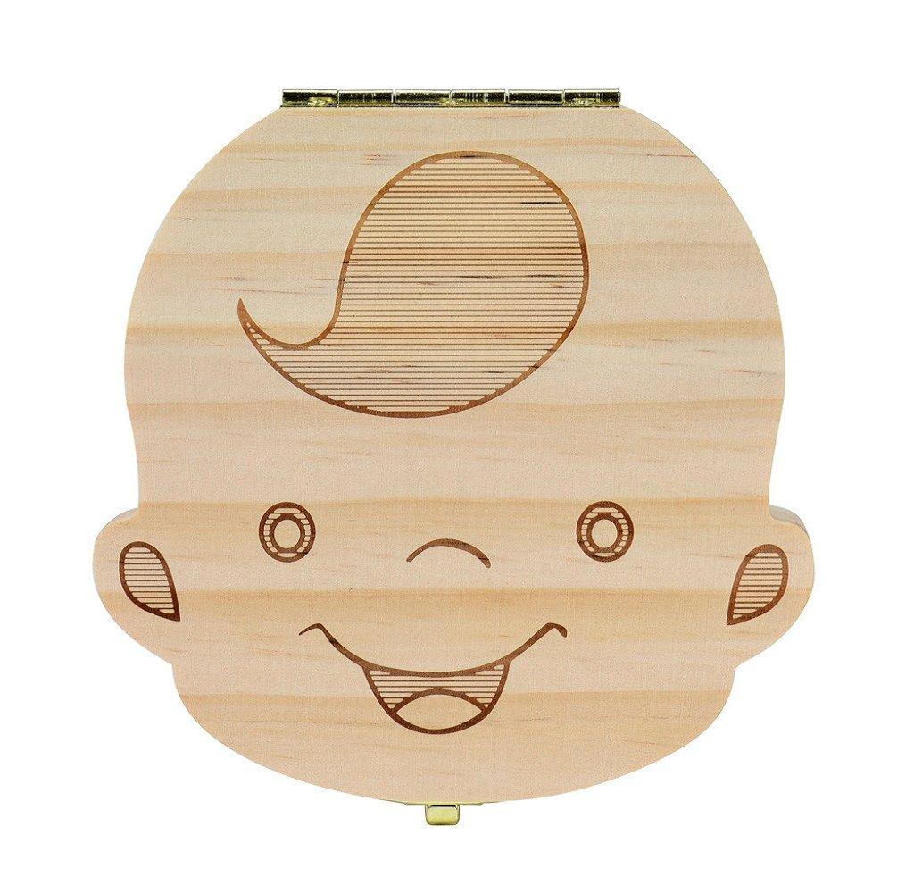 Tooth Box, Mapletop New Baby Milk Teeth Save Wood Storage Box (Boys)