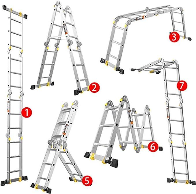 Aluminio Aleación Plegables Escalera,multi Propósito Extensión Escalera Portátil Escaleras De Mano Telescópico Escalera-4.0mm 1.8+1.8m: Amazon.es: Bricolaje y herramientas