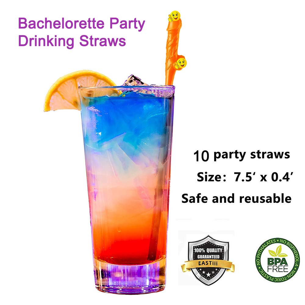 Novelty Bachelorette Party Straws Reusable Colored Drinking Straws,10 Pcs (5 Color)