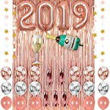 40 Inch Rose Gold 2019 Number Foil Balloons with Confetti Balloons Latex Balloons Champagne Balloons Rose Gold Fringe Curtain for New Year Party Grad Event Anniversary Party (Rose Gold 2019 Balloons)