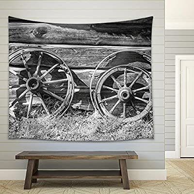 That's 100% USA Made, Gorgeous Visual, Old Wheel from Carts in The Countryside Fabric Wall