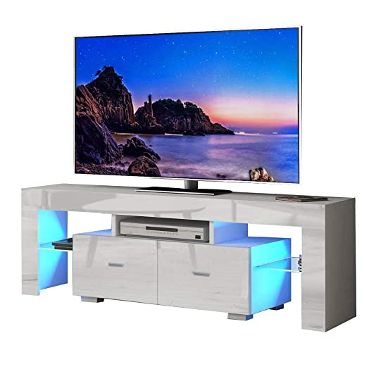 Binrrio TV Stand with LED Light Modern TV Cabinet with Two Drawer, Entertainment TV Stand, Television Table Center with Multi-Color LED Light Furniture for Living Room Bedroom for 52 TV White