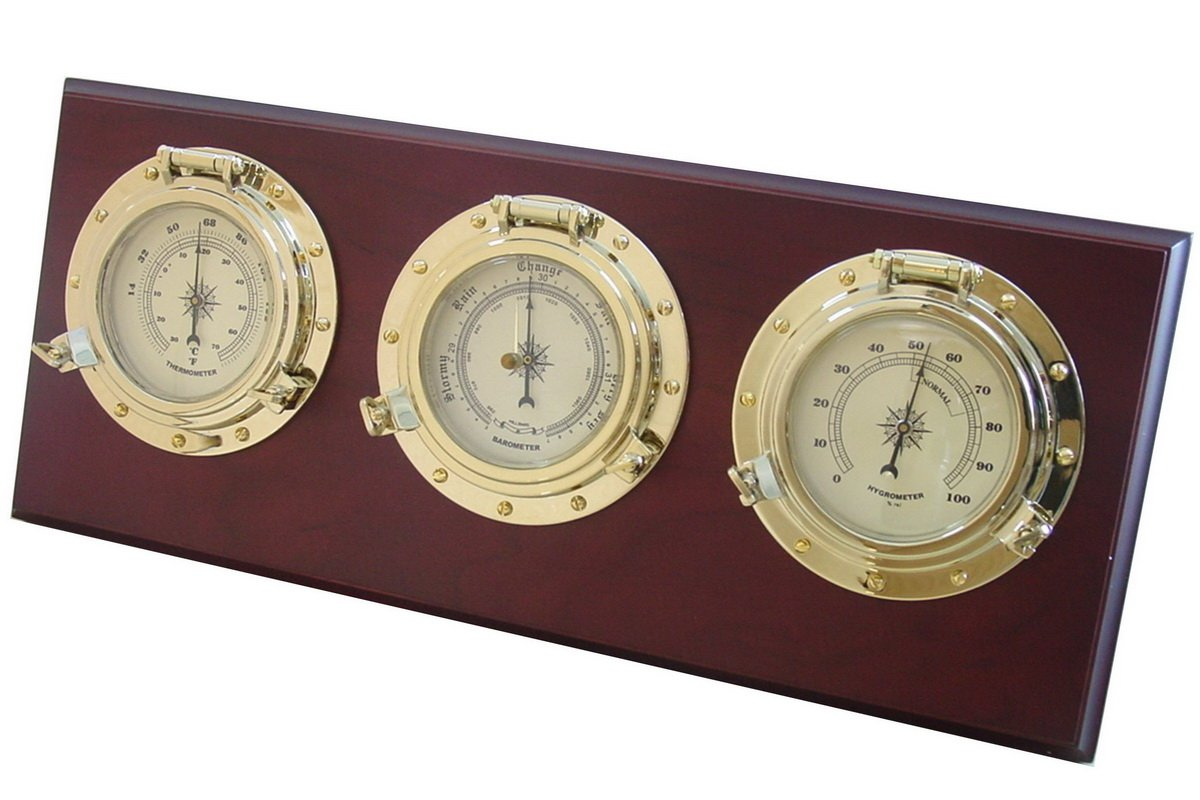Ambient Weather WS-GL025 Porthole Collection Weather Center with Temperature, Humidity and Barometer