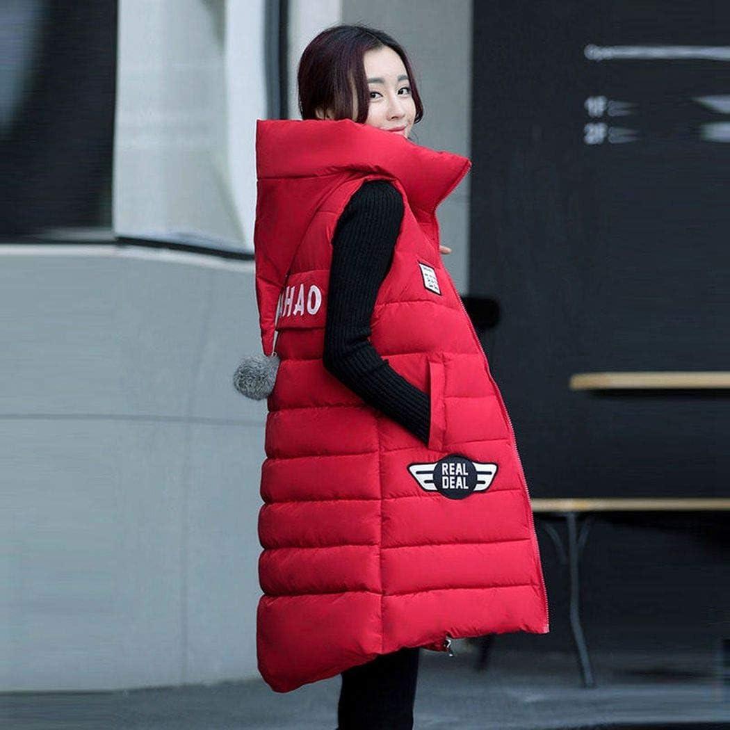 KEBINAI Winter Vest Women Hooded Warm Winter Jacket Women Long Vest Parka Colete