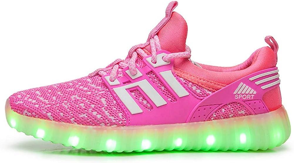 Lovelysi Unisex Enfants Gar/çon Fille LED Lumineuse Chaussures Securit/é Mode Dessus 7 Couleurs Clignotants USB Rechargeable Mutilsport Shoes Sneaker