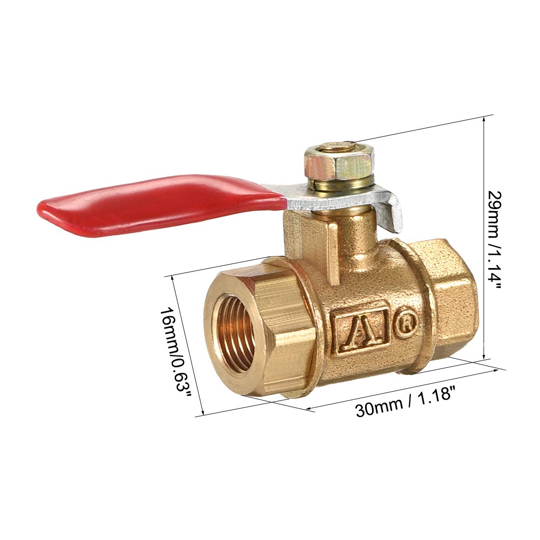 uxcell Brass Air Ball Valve Shut-Off Switch G1//8 Female to Female Pipe Tubing Fitting Coupler 180 Degree Operation Handle 4Pcs