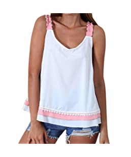 Summer Blouse for Women Sleeveless, Women Color Block Bowtie Loose Vest Tank Tops Shirts (L, Pink)