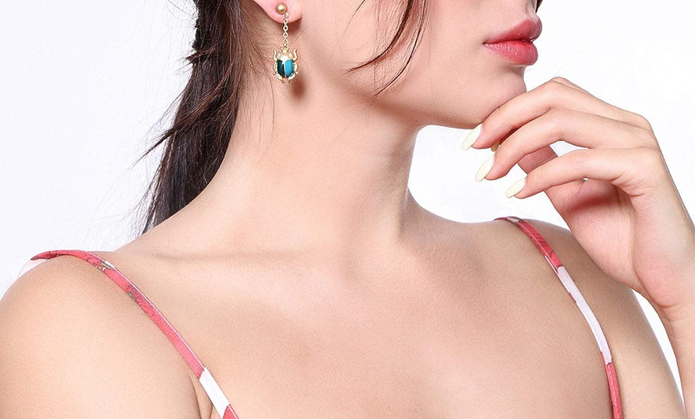 Anieca Blue Red Beetle Drop Earring Enamel Dangle Earring Insect Earring