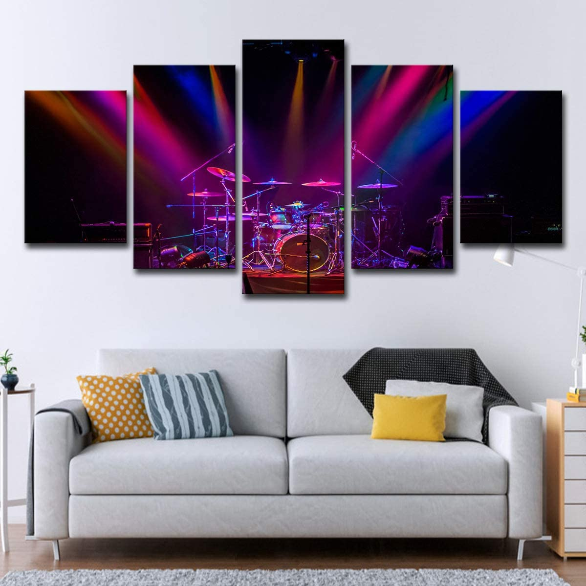 with Frame Music Drum Painting Purple Concert Wall 63CM Home Living Room Decorative Painting 5 Panel can be Directly Suspended