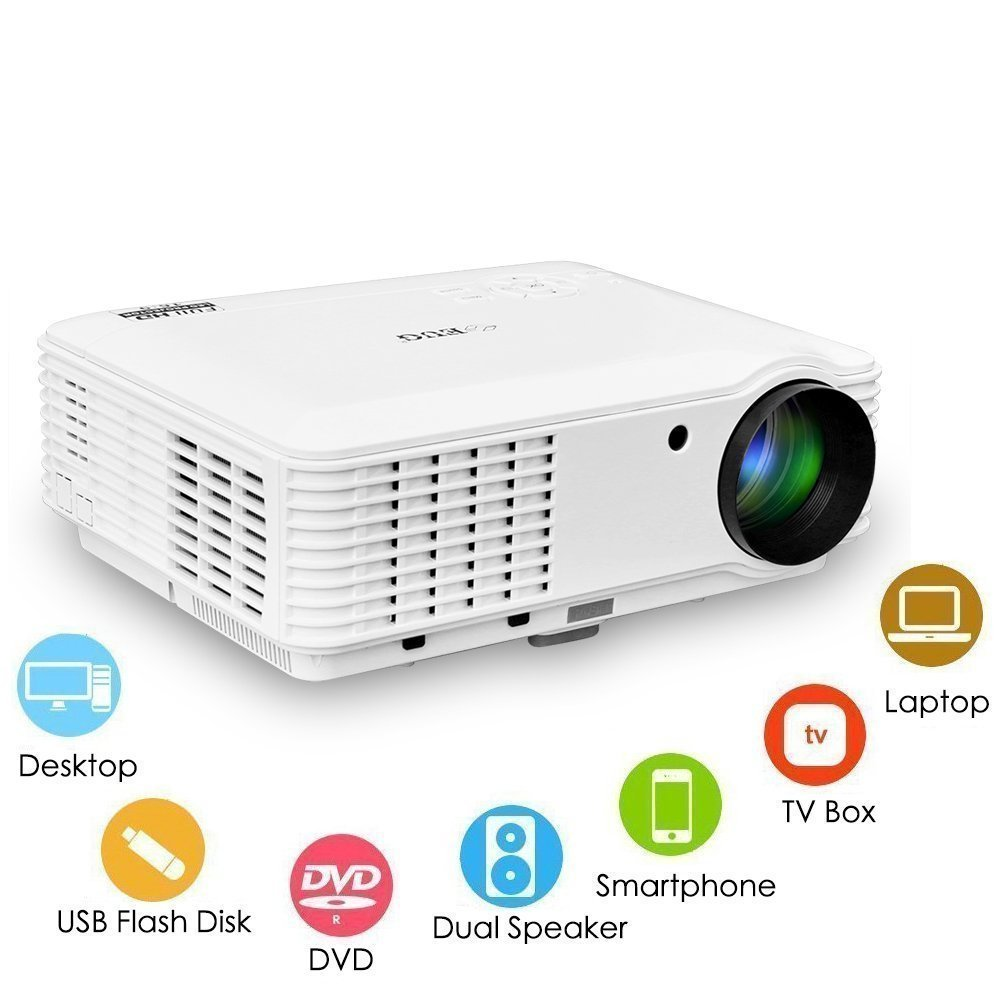 WXGA LCD Image 3500 Lumen Projector 1080p Home Theater System LED Video Proyector Dual HDMI Dual USB VGA AV Audio Out Multimedia Outdoor Movie Projectors for TV DVD Blu ray Player Phones PS4 iPad Wii