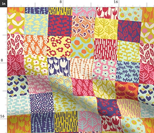 (Spoonflower Floral Cheater Quilt Fabric - Floral Floral Quilt Quilt Block Cheater Quilt Colorful by Sammyk Printed on Petal Signature Cotton Fabric by The Yard )