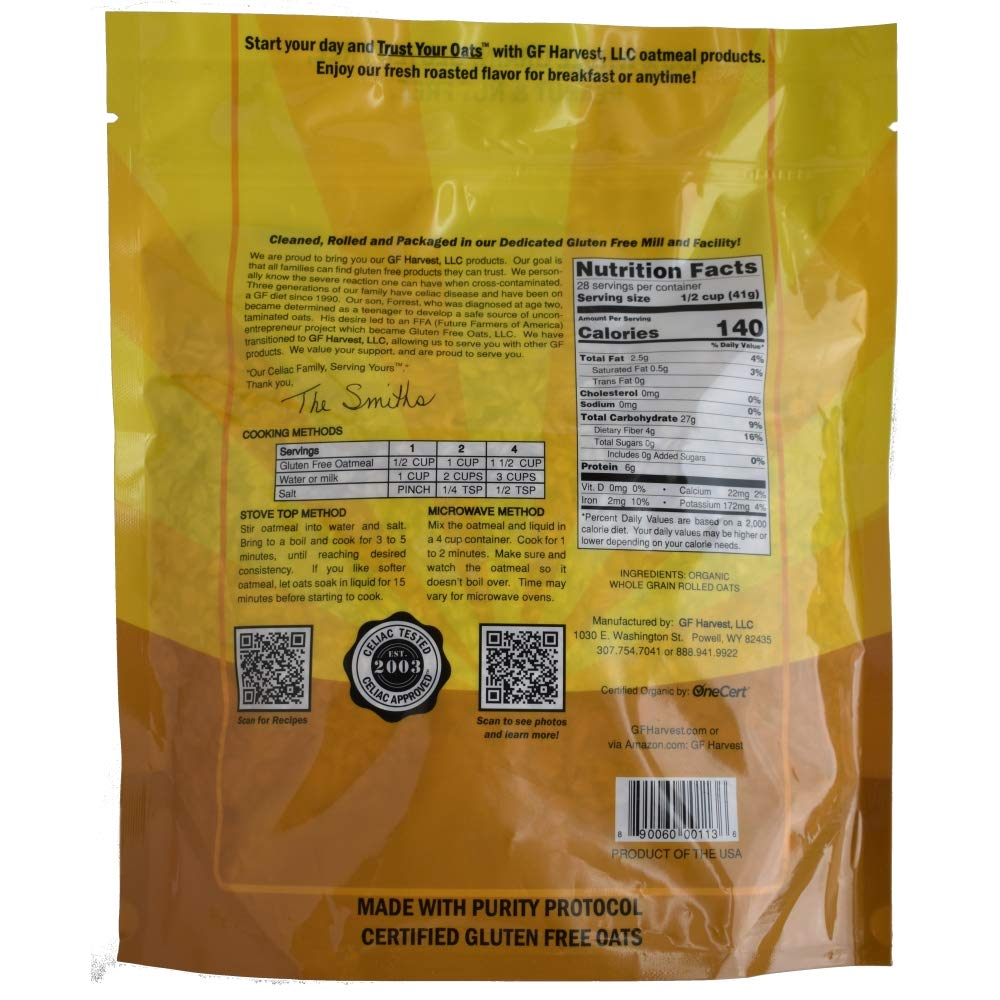 GF Harvest Gluten Free Organic Rolled Oats, 41 oz. Bag, 2 Count (Packaging May Vary) by GF Harvest (Image #3)