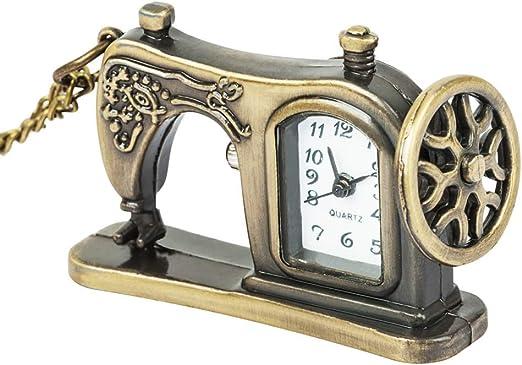 DBSCD Regalos Navidad,Reloj Bolsillo Máquinas Coser aleación Bronce Antiguo Retro Reloj Bolsillo Colgante Cadena Vintage: Amazon.es: Hogar