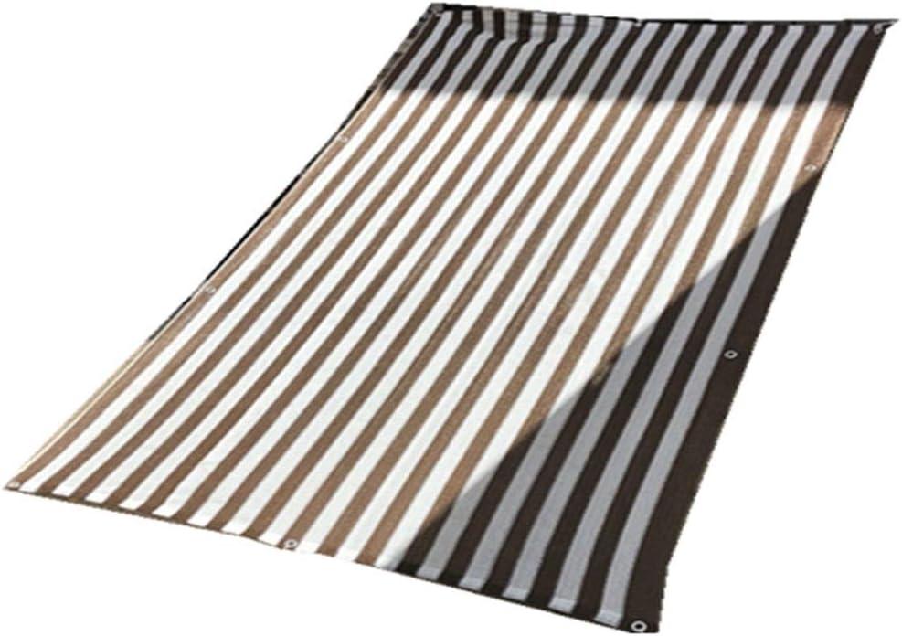 braun 2x7m LXHONG-Sichtschutznetz Sonnensegel Schattenschutz Anti-UV Draussen Streifen Einfach Zu Säubern Faltbar, 23 Größen (Farbe   braun, Größe   2x7m)
