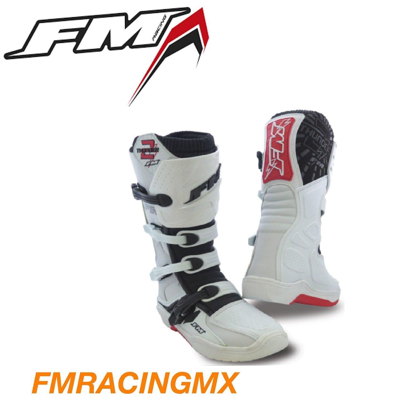 /Talla 45 Botas bota Thunder II blancos MX Cross Enduro Quad ATV FM Racing/