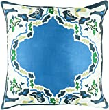 Diva At Home 22'' Blue and Emerald Green Floral Woven Silk Square Throw Pillow - Down Filler