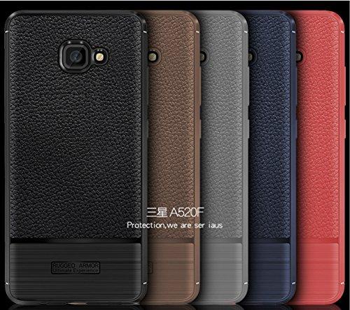 Funda Samsung A520F,Funda Fibra de carbono Alta Calidad Anti-Rasguño y Resistente Huellas Dactilares Totalmente Protectora Caso de Cuero Cover Case Adecuado para el Samsung A520F E