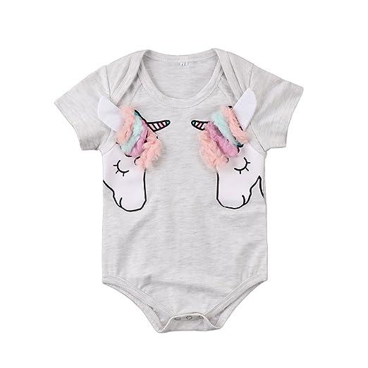 11253bfc681d Toddler Baby Boy Girl Clothes 3D Unicorn Romper Bodysuit Jumpsuit Sunsuit  Outfits 0-24M (