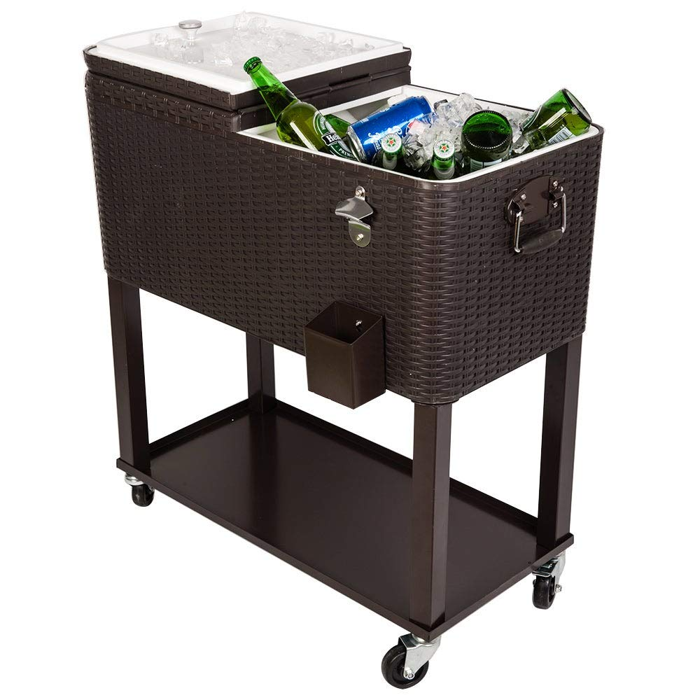 JOYBASE 80 Quart Rolling Ice Chest, Portable Patio Party Bar Drink Cooler Cart, Dark Brown Wicker Faux Rattan Tub Trolley, with Shelf, Beverage Pool with Bottle Opener by JOYBASE