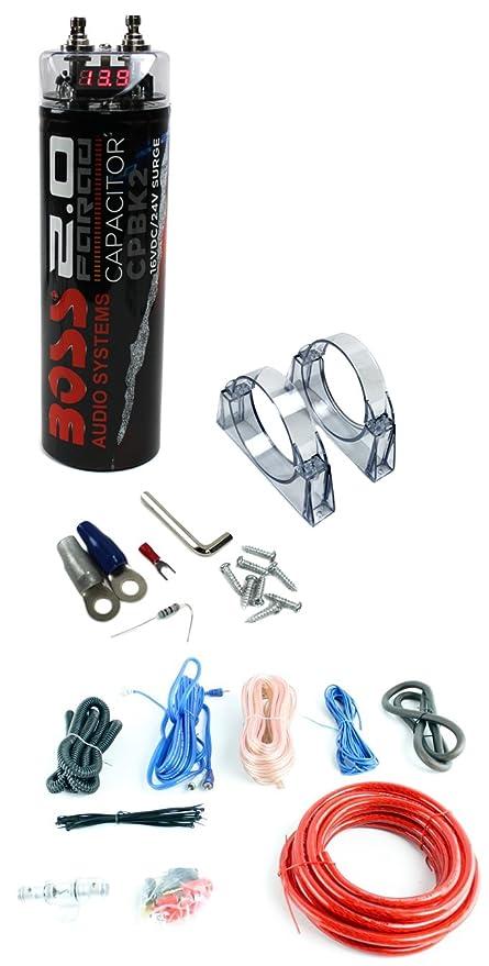 amazon com: boss cpbk2 2 0 farad led digital car capacitor cap + 4 gauge amp  install kit: car electronics