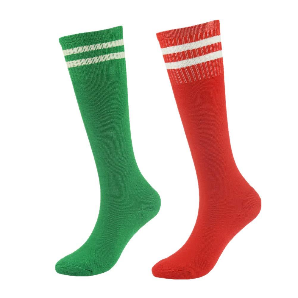 Lucky Commerce スクールキッズ ティーン サッカーフットボールチーム コットン ニーハイソックス 8–16歳用 (2/4/8ペア) 2 Pairs 緑 and 赤