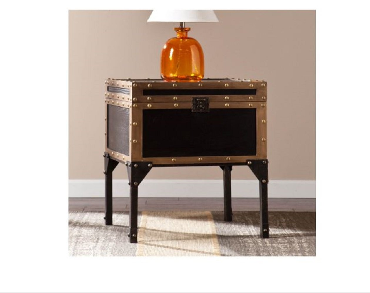 Travel Trunk End Table Storage Side Accent Industrial Antique Bronze
