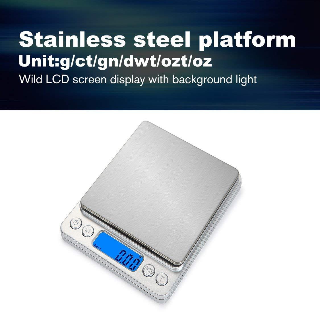Küchenwaagen Silber vige HT-I200 Tragbare Küche Digitalwaage Edelstahl Elektronische LCD-Display Lebensmittelwaage Schmuck Skala 2000g x 0,1g