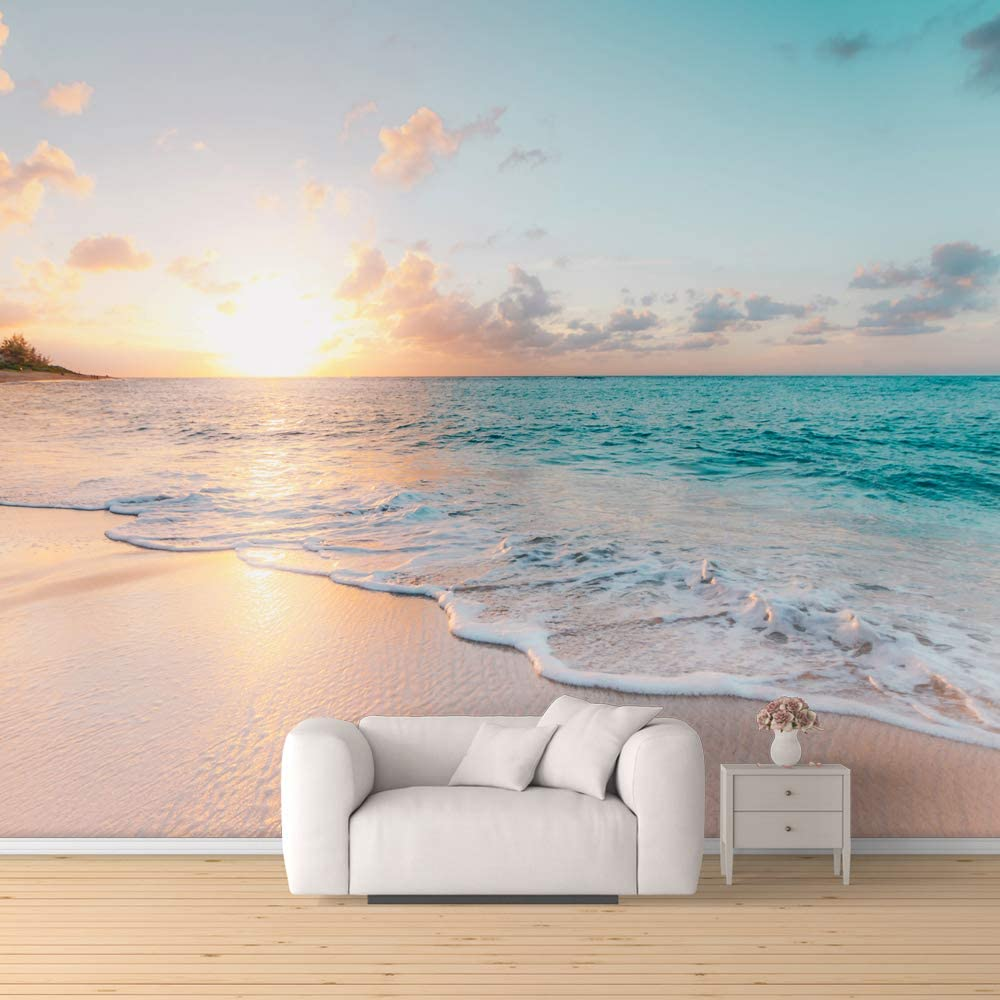 SIGNFORD Wall Mural Romantic Beach Removable Wallpaper Wall Sticker for Bedroom Living Room - 100x144 inches
