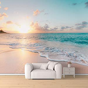 SIGNFORD Wall Mural Romantic Beach Removable Wallpaper Wall Sticker for Bedroom Living Room - 66x96 inches