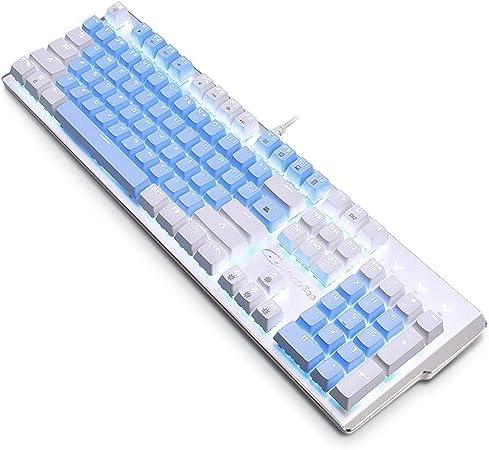 Elkeyko Teclado mecánico Teclado USB Interruptor Azul con 104 ...