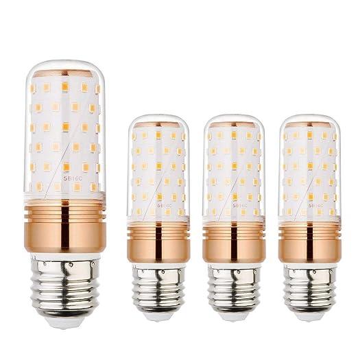 (4 unidades) Ahevo Bombilla de maíz LED E27, 85-265V, 15W, luz blanca cálida, equivalente a 100-120W bombillas E27,1500LM,no regulables (GTQ, 3000K)