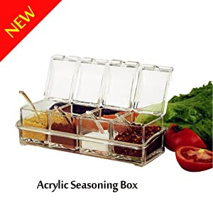 Acrylic Seasoning Box,V-Resourcing 4 Pieces Clear Seasoning Spice Rack Pots Storage Container Condiment Jars with Spoons