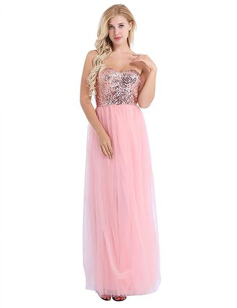 iEFiEL Vestido Brillante Largo de Fiesta Boda para Chica Mujer Dama de Honor Vestido de Gala