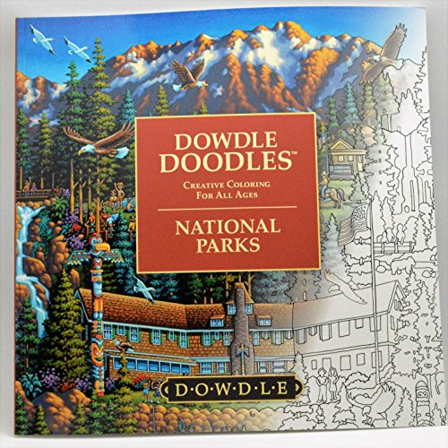 Dowdle Doodles National Parks Adult Coloring Book, Adult Camping Coloring Books, Camp Games Kids And Adults Love