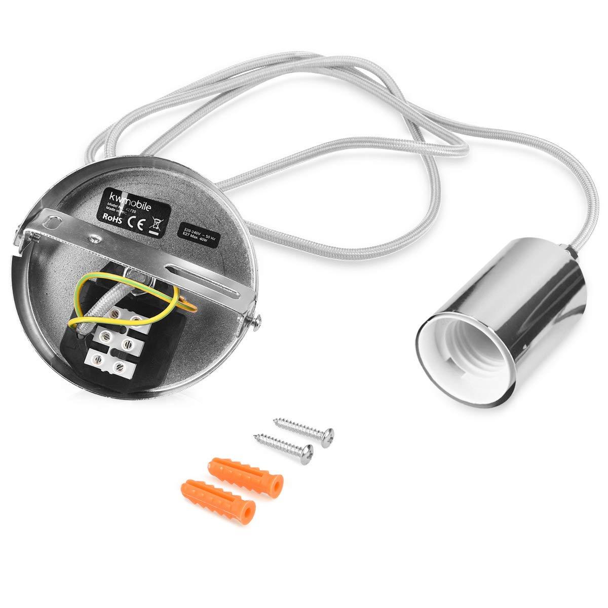 E27 Fassung mit Kabel kwmobile E27 Metall Lampenfassung mit Textilkabel Lampenaufh/ängung Halter in Silber Optik mit Deckenbefestigung 1,20m