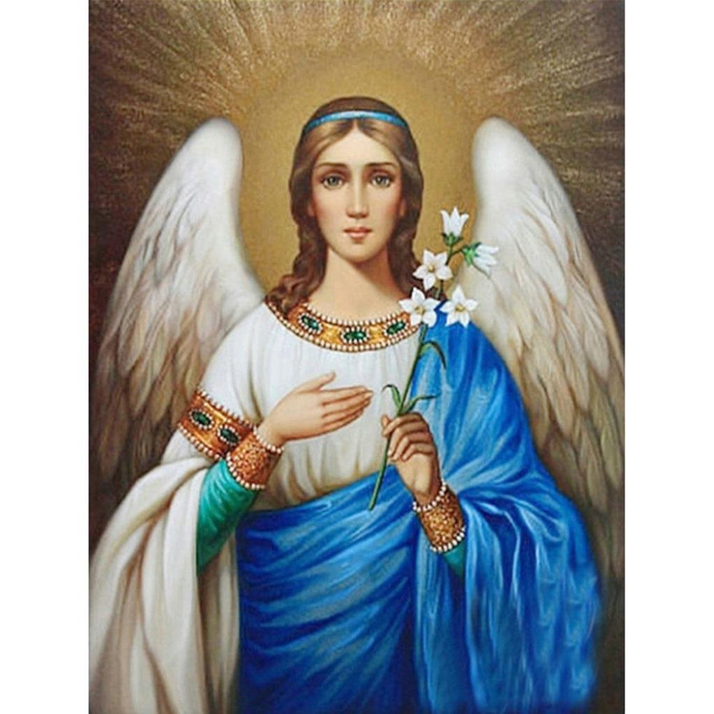FORESTIME 5D DIY Diamond Painting,Embroidery Paintings Rhinestone Pasted DIY Diamond Painting Cross Stitch, Religious Virgin (C, 25X20 cm)