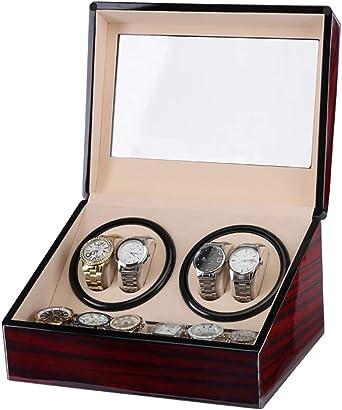 Caja giratoria para Relojes Automático Watch Winder Box Luxury Wooden para 4 Relojes de Pulsera + 6 Estuche de Almacenamiento, enrollador de Reloj con Motor silencioso, Estuche para Almacenamiento de: Amazon.es: Relojes