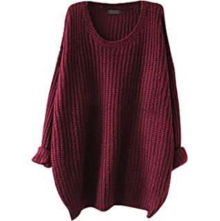 YouPue Damen Strickpulli Pullover Lang Langarm Lose Weit Geschnitten  Rundhals Gestrickte Pullover Casual Tops Sweater Grob 3cb6659183