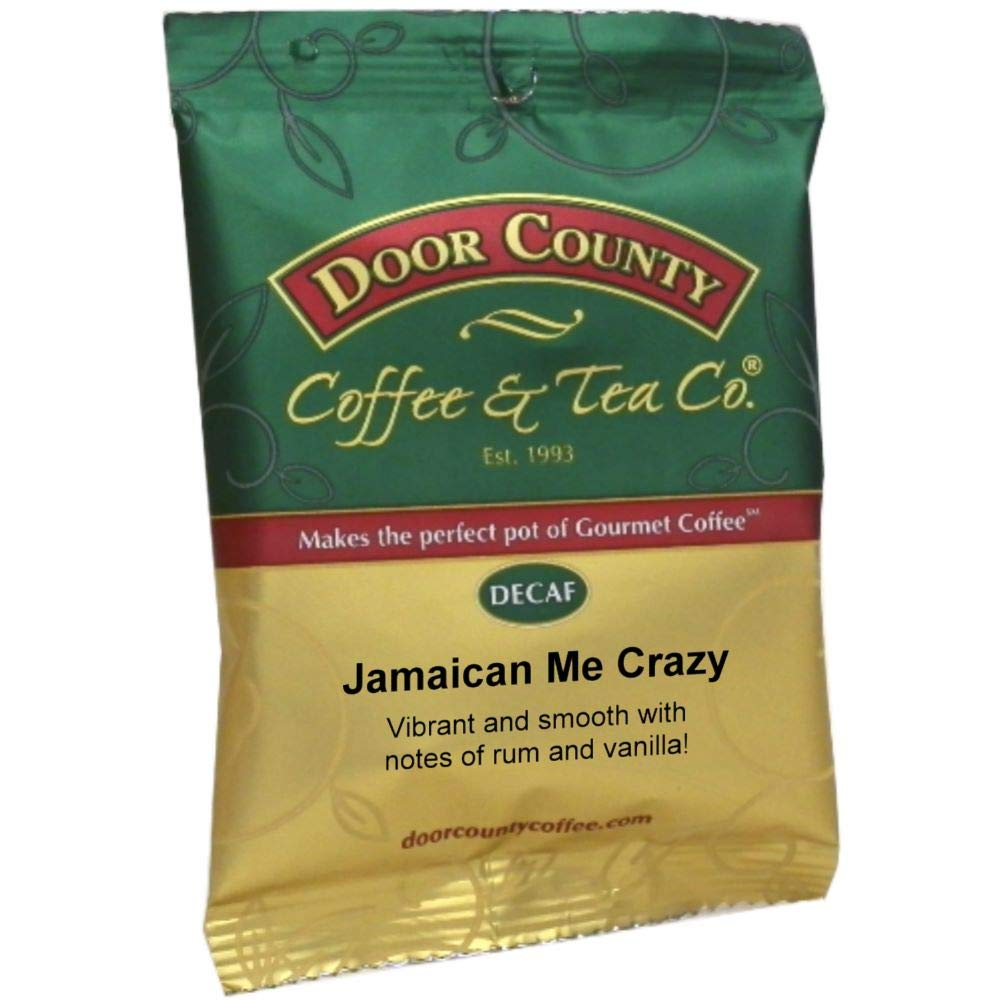 Door County Coffee, Jamaican Me Crazy Decaf, Ground, 1.5oz Full-Pot Bag