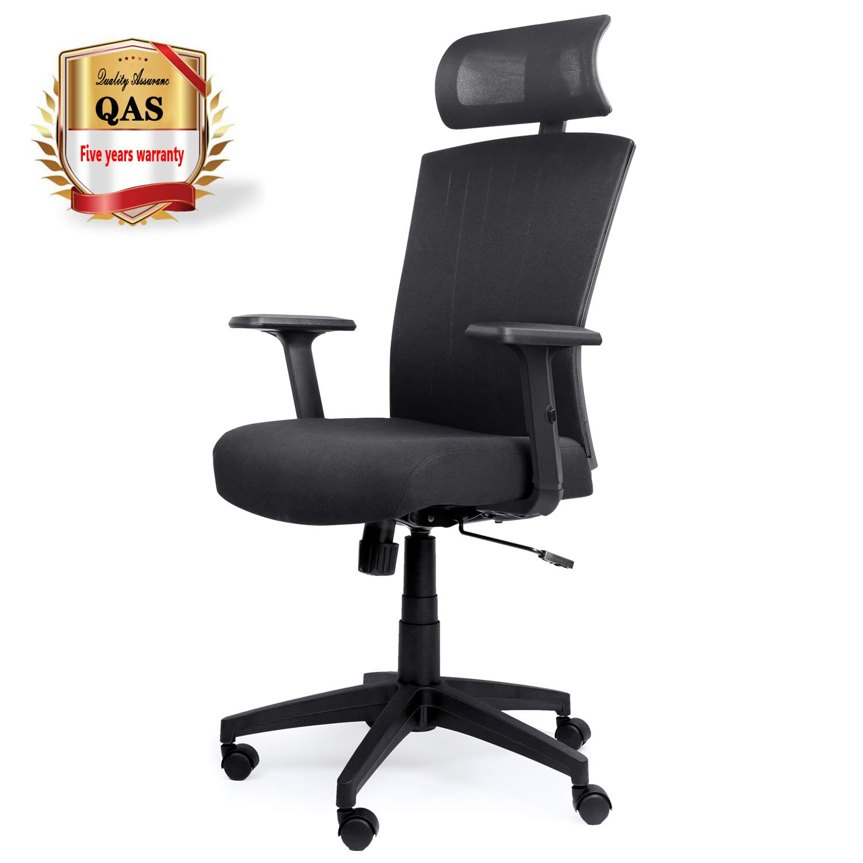 Komene ergonomic Office Chair High Back Mesh Desk Chair with Adjustable Seat Height Headrest Lumbar Support Swivel Computer Chair for Home Office Study, High Back,Black