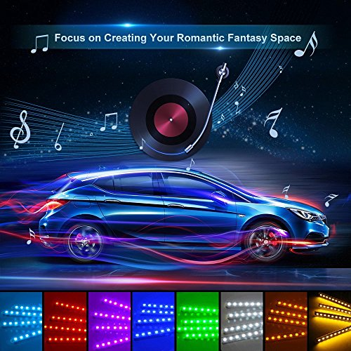 Car LED Strip Light, Auto Parts Club 4pcs 48 LED DC 12V Multicolor Music Car Interior Lights LED Under Dash Lighting Atmosphere Neon Lights Kit with Sound Active Function and Wireless Remote Control by Auto Parts Club (Image #5)