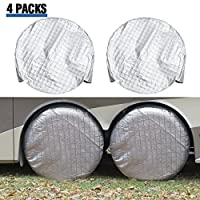 Tire Covers for RV Wheel ELUTO Set of 4 Motorhome Wheel Covers Waterproof Aluminum film Cotton Tire Protectors Tire Covers Fits 27'' to 29'' Tire Diameters