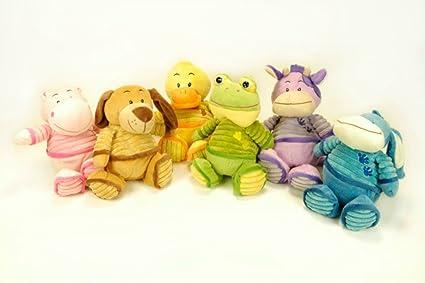 CAPRILO Lote de 6 Peluches Infantiles Decorativos Animales Tela Rayas Multicolores Juguetes Infantiles. Muñecos para