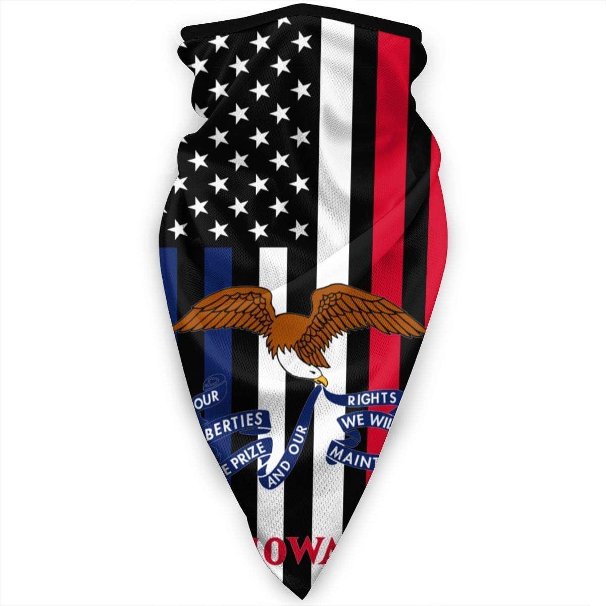 Yuanmeiju Iowa State Flag USA Face Mask Neck Gaiters Bandana Scarf BalaclavaMultifunctional Headwear for Outdoor Sports