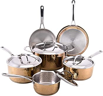 Cooks' Club Hammered 10-piece Copper Cookware Set