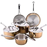 Hammered 10pc Copper Cookware Set - Cooks' Club stainless steel copper pots and pans set, Copper pans, Copper cookware - Dishwasher Safe