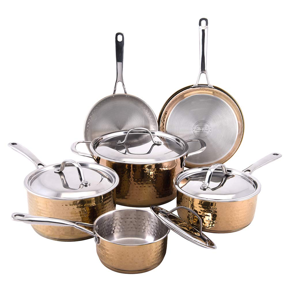 Hammered 10pc Copper Cookware Set - Cooks