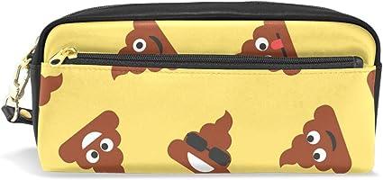 CPYang - Estuche de piel con cremallera para lápices y bolígrafos, diseño de caca feliz: Amazon.es: Oficina y papelería